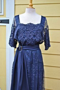 "1910's 1920's Edwardian Style ""Hilda"" Dress In Vintage Blue Lace Custom Made To Order For Sally ***"