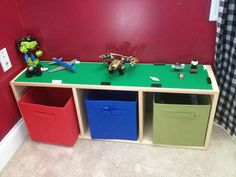 Lego table-maybe with smaller bins on tracks to sort by color?
