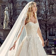 """The 2017 """"Milano"""" bridal collection by Eddy K. features delicately beautiful wedding dresses with a sophisticated city flair that is inspired by"""