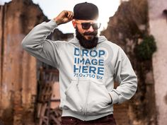 Bearded Hipster Man at Demolition Site Hoodie Mockup Placeit Stage Image