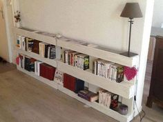 The pallet book rack looks very formal and decent in the living room and also it does not take much space. These bookshelves enhance the visual and attraction of the living room, and also you can put lamps, decoration pieces like for example mugs and frames on it to make it look better.