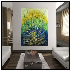 Large Artwork Green Turquoise painting abstract di largeartwork