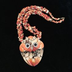 BIRTHDAY SALE Vintage necklace OH, BOY!!! I know you do not have one like this in your closet!!! Shades of orange and cream stones connecting to an incredibly unique owl.  Gold tone screw clasp. So, what reason could you possibly have for passing this up?  Make an offer I believe this necklace is by designer Karla Jordan. Vintage Jewelry Necklaces