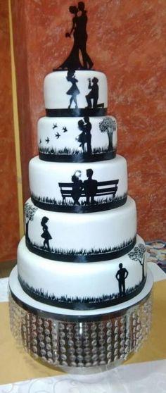 Silhouette wedding cake by Rafaelo Torte - http://cakesdecor.com/cakes/294768-silhouette-wedding-cake