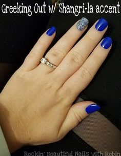 Get this super easy DIY blue manicure with a Color Street's Greeking Out! This manicure also has an amazing sparkly silver accent nail of Shangri-La! Quick and easy blue nails in minutes with no dry time and no mess! Sparkly Nails, Bling Nails, Dallas Cowboys Nails, Cowboy Nails, Nail Tip Designs, Dipped Nails, Nail Tips, Nail Ideas, Color Street Nails