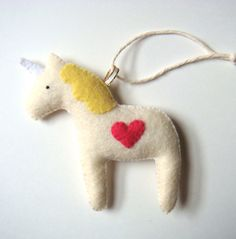 Unicorn Pony Horse Christmas Ornament Holiday Home by mikaart, $21.99
