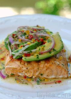 "Grilled salmon with avocado salsa. ""seriously THE BEST salmon I have ever had."" grilled salmon with avocado salsa Clean Eating Meal Plan, Clean Eating Recipes, Healthy Eating, Cooking Recipes, Healthy Recipes, Simple Recipes, Healthy Food, Cooking Tips, Amazing Recipes"