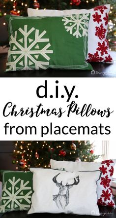 Make your own DIY Christmas pillows out of placemats. Full tutorial from Designer Trapped in a Lawyer's Body. Make your own DIY Christmas pillows out of placemats. Full tutorial from Designer Trapped in a Lawyer's Body. Dollar Tree Christmas, Dollar Tree Crafts, Diy Christmas Gifts, Christmas Projects, All Things Christmas, Holiday Crafts, Christmas Crafts, Christmas Decorations, Diy Christmas Pillows