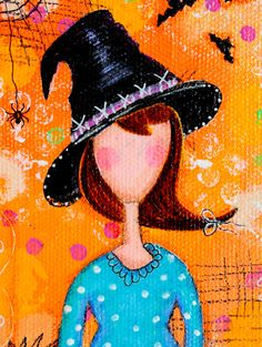 Favorite time of year for making art! Autumn. Halloween Original Mixed Media Art Witch on by ArtByAlisaSteady, $40.00