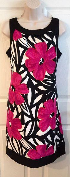 Dressbarn Dress Sz 14 Black White Pink Floral Shift Sleeveless with Side Pockets  | eBay