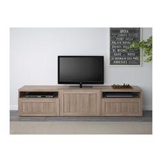 BESTÅ TV unit - Hanviken walnut effect light gray, drawer runner, push-open - IKEA