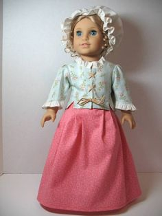 From 2011 - Colonial school jacket, petticoat (skirt), and mob cap modeled on Elizabeth made from the official American Girl doll patterns