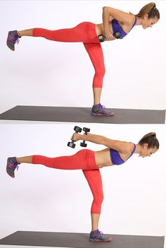 Circuit Two: Warrior Three Triceps Extension. Work your glutes and core while tightening the backs of your upper arms.