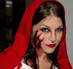 edgy little red riding hood costume | Little Red Riding Hood: attacked by the wolf.
