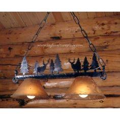Ironworks Johnson Creek Bar Light | iron deer buck pine tree bar light