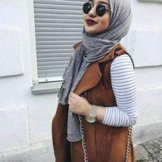 cognac vest hijab- striped tee outfit- Eid hijab ready to wear http://www.justtrendygirls.com/eid-hijab-ready-to-wear/