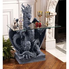 Home Indoor Living Decor Dragon Glass-Top Table The Subservient Dragon Glass-Topped Sculptural Table Dragon Glass, Dragon Art, Dragon Table, Decoration Ikea, Medieval Gothic, Gothic Furniture, Unique Furniture, Furniture Stores, Table Furniture