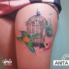 Jaula, pájaros, watercolor #birdstattoo #watercolortattoo #colortattoo #tatuaje #iristattoo #buenosaires #argentina #palermo