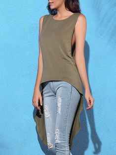 Trendy Round Collar Sleeveless Asymmetrical Solid Color Women's Tank Top