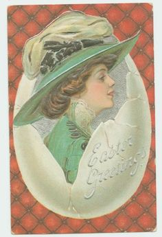 I LOVE THIS ONE! ANTIQUE EASTER POSTCARD - LOVELY LADY IN EGG SHELL