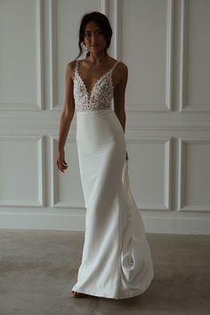Can't decide on lace or a plain gown? Meet Tommy Crepe! She is elegant and charming with a subtle, daring edge that will captivate your senses. Meet, Gowns, Bridal, Elegant, Formal Dresses, Lace, Wedding, Fashion, Vestidos
