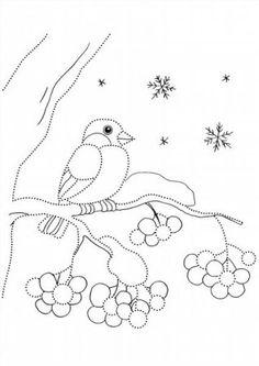 """Színező """"Bullfinches télen"""" letölteni és kinyomtatni ingyen"""