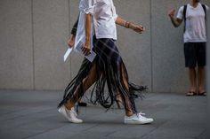 Plaid Fringe +White Shirt + Sneakers