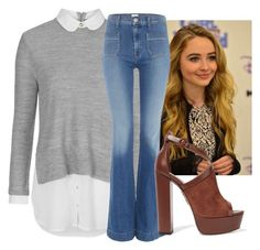 """""""Sabrina carpenter inspired (Ruby)"""" by girlmeetsworldclub ❤ liked on Polyvore featuring ASAP, Topshop, Hudson Jeans and Aquazzura"""