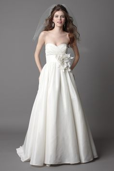 Sammy-minus the flower.  Is this boring? Am I a boring bride? Wtoo Brides Mimi Gown Style 15828 | Watters.com