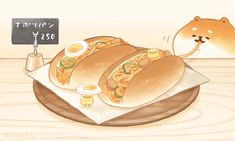 Cute Food Drawings, Cute Kawaii Drawings, Cute Animal Drawings, Kawaii Chibi, Cute Chibi, Kawaii Art, Cute Kawaii Animals, Chibi Food, Japanese Dogs