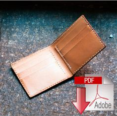 This product is a digital PDF download template to make a classic full sized leather bi-fold wallet. You can see examples of the finished product in