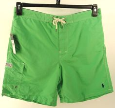 POLO RALPH LAUREN GREEN NEW CARGO $59.50 BATHING SUIT SWIM TRUNKS BOARD SHORTS L #PoloRalphLauren #BoardSurf