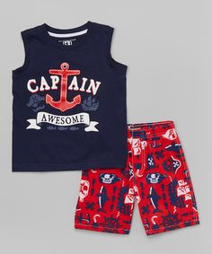 Look what I found on #zulily! Navy 'Captain Awesome' Tank & Red Boardshorts - Infant, Toddler & Boys #zulilyfinds