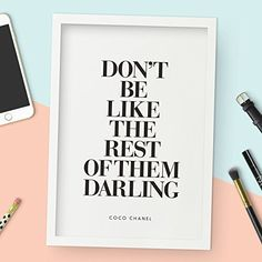 Don't Be Like the Rest of Them Darling Coco Chanel Quote Typography Poster Wall Decor Motivational Print Inspirational Poster Home Decor
