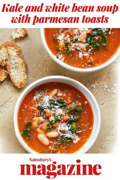 Ladle up this tasty tomato soup with kale and cannellini beans plus cheesy toasts to dunk in