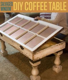 Salvaged Window DIY Coffee Table - Unique Coffee Tables | Easy & Creative Ideas on How To Make Upcycle Rustic table By DIY Ready http://diyready.com/salvaged-window-diy-coffee-table-unique-coffee-tables/