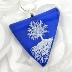 Cobalt Blue Tree of Life Jewelry Recycled Wine by dpholkdesigns, $18.00