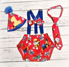 Boys Paw Patrol Cake Smash Set, Diaper Cover, Suspenders, Tie or Bowtie, You Choose, Add on Birthday Hat