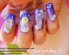 Cinderella 79 Wonderful Disney Nail Art Designs What do you think Miss Emily? Disney Inspired Nails, Disney Nails, Disney Nail Designs, Cute Nail Designs, Cute Nails, Pretty Nails, Cinderella Nails, Cinderella Disney, Cinderella Castle