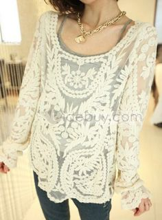 Simply Hollow Long Sleeve Lace Blouse : Tidebuy.com