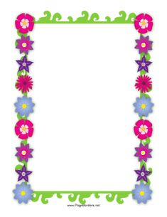This flower border includes several brightly colored flowers straight from the garden. Free to download and print.