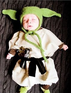 Funny baby. Star Wars. Yoda. Costume