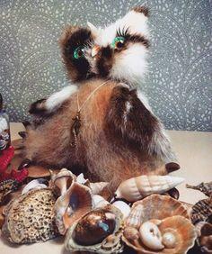 Anna Magic Owl Flower (@magic.owl) в Instagram: «Сова Вилейн. Морская красотка. Авторская игрушка ручной работы.  сухое валяние шерсти, мех норка, стекло, морская композиция…»