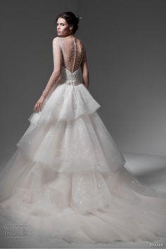 jillian 2017 bridal long sleeves illusion jewel deep plunging sweetheart neckline romantic princess cream color tiered a  line wedding dress chapel train (marta) bv