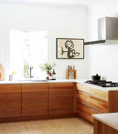 Wooden kitchen cabinets Ipswich House for Real Living Magazine Australia: desi … – White N Black Kitchen Cabinets Minimal Kitchen, New Kitchen, Kitchen Decor, Kitchen Ideas, Earthy Kitchen, Maple Kitchen, Kitchen Stools, Kitchen White, Kitchen Modern