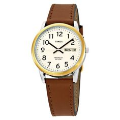 Timex Men's T20011 Easy Reader Brown Leather Strap Watch Timex. $28.69. Indiglo® Night-Light. Genuine Leather Strap. Easy-to-Read Dial. Polished Finish. Water-resistant to 99 feet (30 M).