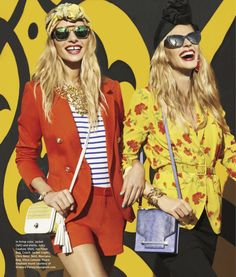 jessica hart and anne vyalitsyna by tommy ton for us harper's bazaar