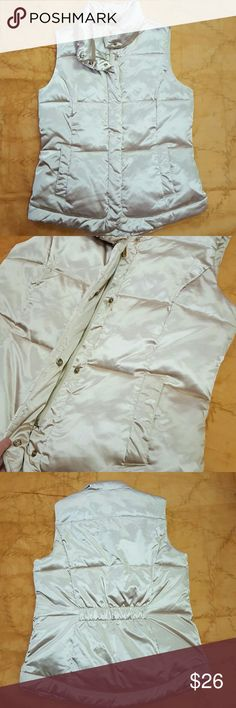 Shiny Charter Club Vest Dressy shiny Charter Club vest. Zips all the way down and has buttons . Pre-owned and in great condition! Champagne colored Charter Club Jackets & Coats Vests