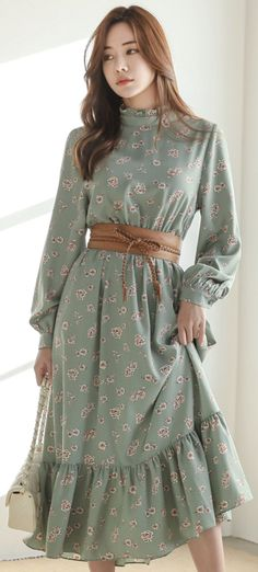 Romantic Floral Print Frill Maxi Dress is part of Floral dresses long - Korean Women's Fashion Shopping Mall, Styleonme N Trendy Dresses, Cute Dresses, Beautiful Dresses, Casual Dresses, Dresses Dresses, Romantic Dresses, Awesome Dresses, Dresses Online, Bridesmaid Dresses