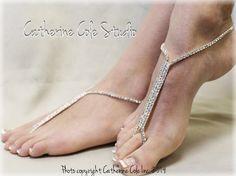 GLAMOROUS rhinestone Barefoot sandals wedding shoes bridal jewelry beach destination wedding  footless sandles  Catherine Cole Studio SJ1 by CatherineColeStudio on Etsy https://www.etsy.com/listing/200473433/glamorous-rhinestone-barefoot-sandals